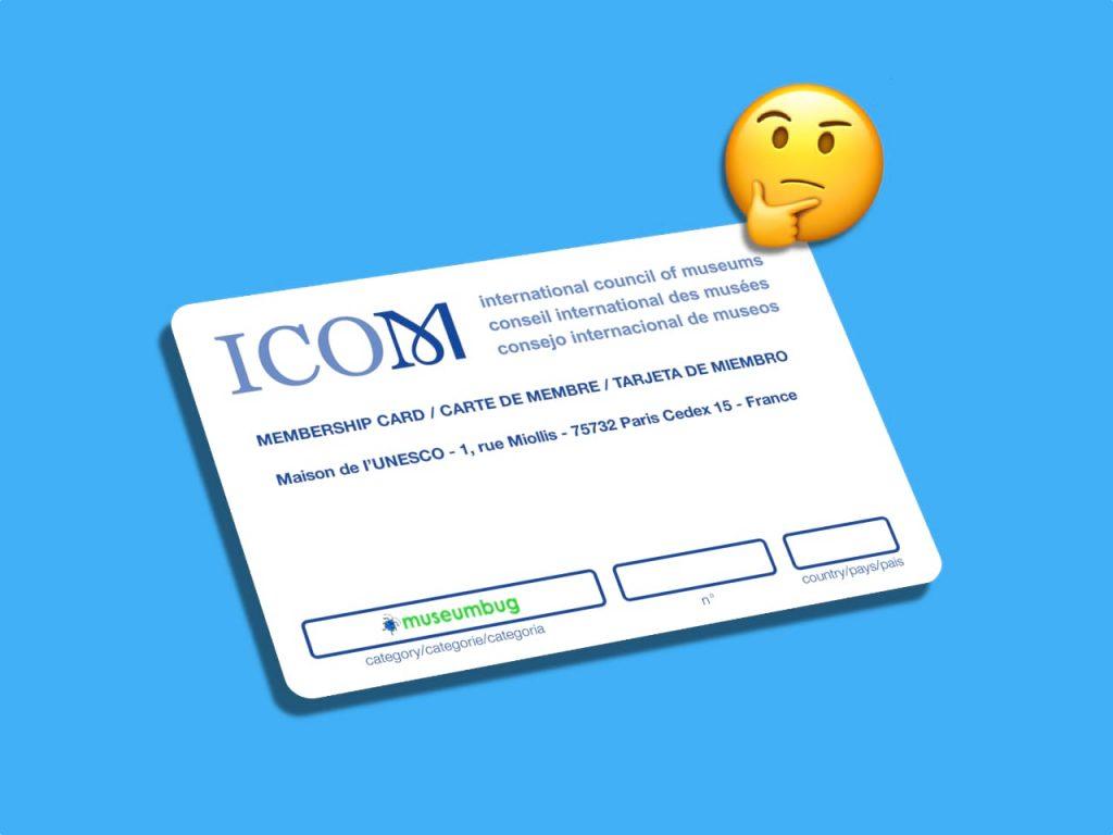 Das Titelbild der 22. Folge des museumbug-Podcast zeigt den Mitgliedsausweis des ICOM vor blauem Hintergrund. Schräg darüber ist ein gelbes Emoticon mit fragendem Gesichtsausdruck zu sehen.