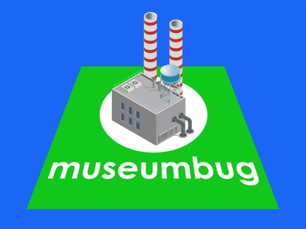 Das Folgenbild der 25. Ausgabe des museumbug-Podcast zeigt das grüne Logo als Fläche. Darauf steht ein kleines Industriegebäude mit Schornsteinen.